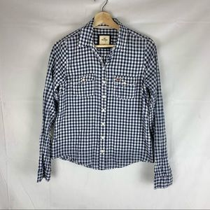 HOLLISTER gingham check button down shirt SZ M